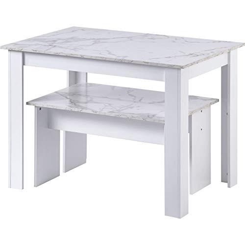 æ - Juego de mesa de comedor y sillas, mesa de comedor con 2 bancos, juego de mesa de comedor para cocina, hogar, desayuno, comedor, mármol artificial pequeño espacio