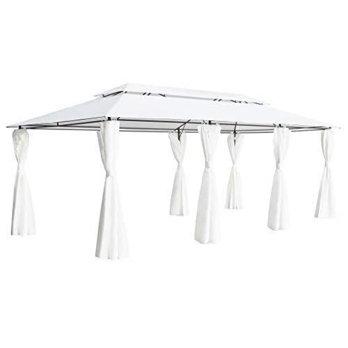 vidaXL Cenador con Cortinas Carpa para Fiestas Eventos Mobiliario Terraza Exteriores Patios Aire Libre Accesorios Hogar Bricolaje Blanco 600x298x270cm