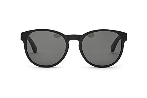 TAKE A SHOT Holz-Sonnenbrille Damen Rund Schwarz Groß, UV400, Schwarze Sonnenbrille Holz KING OF HEARTS