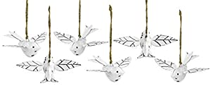 SET OF 6: Receive six hanging bird ornaments DISTRESSED WHITE METAL: Vintage retro metal design in distressed white SEASONAL THEMES: Perfect for an Easter tree, spring wreath, fall arrangement, wedding display or Christmas tree SIZE: 4 inch beak to t...
