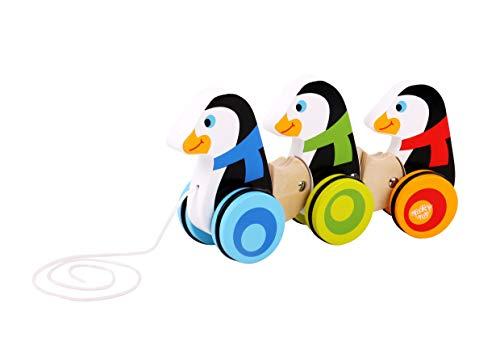 Andreu Toys- Tooky Toy Wooden Pull Along Penguins Pingouins, TKC420, Multicolore, 25.5 x 13 x 6.5 cm