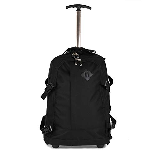 FREETT Men Trolley Backpack, Boarding Trolley Suitcase with Wheeled and Laptop Compartment, Business Luggage Case Bag for Travel School, Black, 36 * 20 * 48 cm