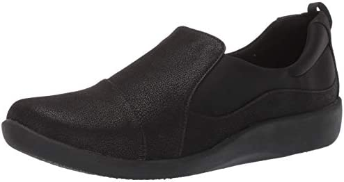 Clarks womens Sillian Paz Slip On Loafer Black Synthetic Nubuck 7 5 Wide US product image