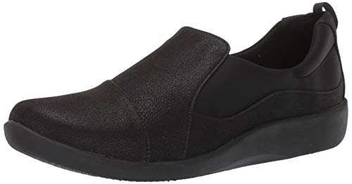 Clarks womens Sillian Paz Slip On Loafer, Black Synthetic Nubuck, 7.5 US