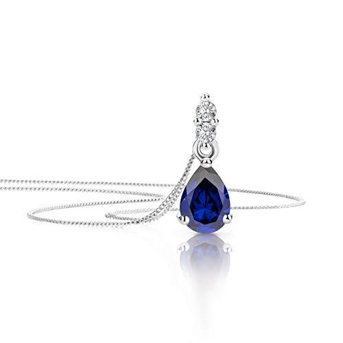 Orovi Schmuck Damen 0.06 Ct Diamant Halskette mit Tropfen Anhänger Edelstein/Geburtsstein Saphir in blau und Brillanten Kette aus Weißgold 9 Karat / 375 Gold, länge 45 cm