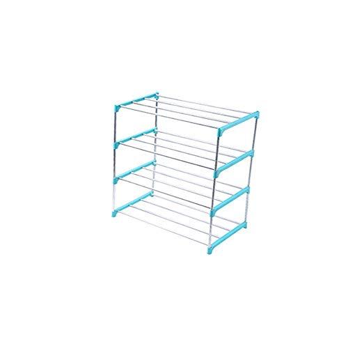 MZGN Scarpiera Slim Salvaspazio 4 Ripiani Porta Scarpe Struttura Tubolare in Acciaio Colore Nero Arredamento Ingresso Casa Design Moderno Facile da Montare (47 X 26 X 56 Cm) Blue