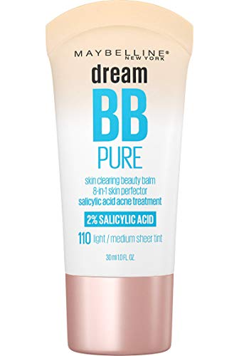 MAYBELLINE Dream Pure Skin Clearing BB Cream, 8-in-1 Skin Perfecting Beauty Balm With 2% Salicylic Acid, Sheer Tint Coverage, Oil-Free, Light/Medium, 1 Fl Oz