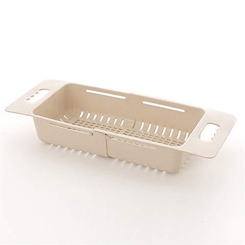収納トレー フルーツホルダー食器ストレージは、調節可能なシンク食器乾燥棚は、ストローバスケット野菜洗濯バスケットキッチンストレージドレインラック (色 : Beige)