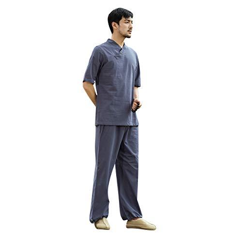 KSUA Männer Tai Chi Uniform Baumwolle Zen Meditation Anzug chinesische Kung Fu Kleidung Yoga Kleidung mit halben Ärmeln, Grau Blau EU XL/Etikett XXL