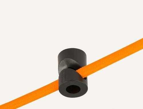 Wand- und Deckenpins - V - Schwarz für Textilkabel. 5 Stück. Made in Italy