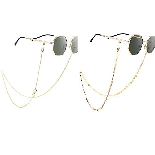 Bohend Moda Catena di occhiali da sole Oro Cuore Catena per maschera facciale Donne Catena per occhiali Accessori per occhiali Per Occhiali E maschere per il viso (2 pezzi)