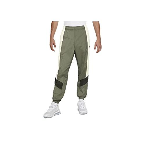 Nike Sportswear - Pantalones de chándal para hombre con cintura elástica, color verde y blanco Verde XS