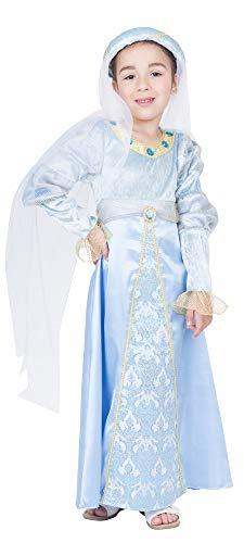 Burgfräulein Binia kostuum voor meisjes - lichtblauwe jurk en sluier- Leuke middeleeuwse bekleding voor kinderen carnaval Burgfest ridderspel
