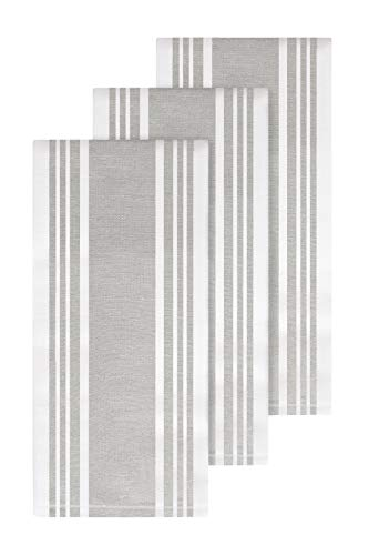 All-Clad Textiles Cotton Kitchen Towels with Dual Woven Stripes, Reversible, Highly Absorbent, Inhibits Bacterial Odors, 17-inch by 30-inch, 3-Pack, Titanium
