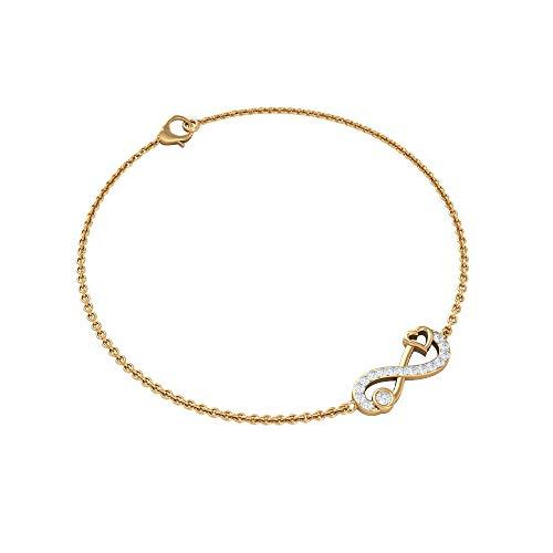 Pulsera de corazón infinito, pulsera de cadena Forever Love, pulsera de diamante HI-SI, pulsera de novia infinita, pulsera de promesa de aniversario, regalo para esposa, Metal, Diamond,