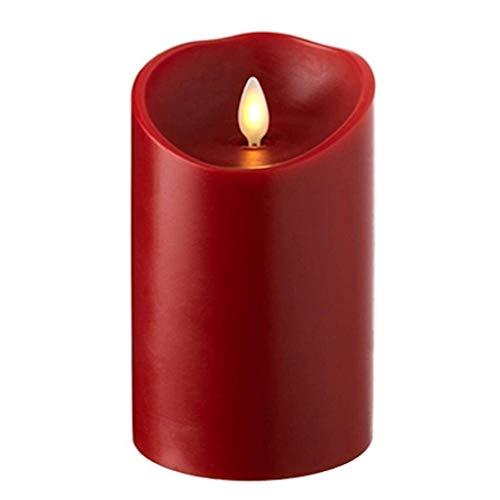 Raz Imports 3.5'X5' Push Flame Red Pillar Candle - Flameless Lighting Accent and Decorative Battery Operated Flickering Light Source with Timer - Fake Candles for Living Room, Patio and Bedroom