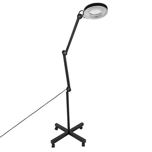 AYNEFY Lámpara con lupa LED con pinza de sujeción, lámpara con lupa iluminada, lupa de 5 aumentos, abrazadera plegable desmontable para tatuaje, color negro