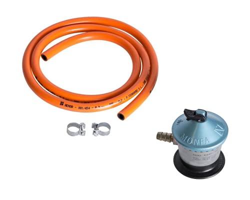 ELMA - Kit de Manguera de conexión bombona de gas 1,5m con 2 abrazaderas + regulador de gas butano Monfa, Compatible con Camping gas ELMA DUAL VERDE