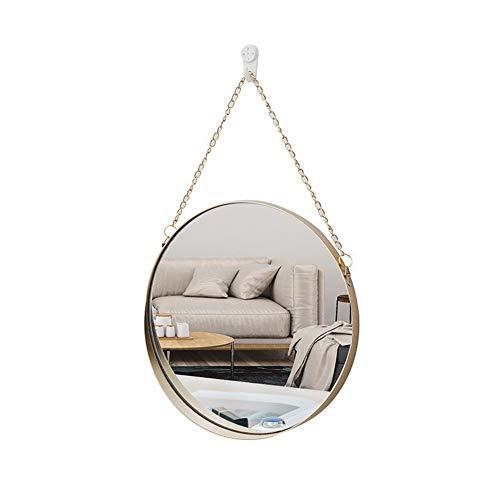 PAEFIU Espejos para Colgar en la Pared Redondos, Espejo de vanidad con Cadena de Hierro, Baño Espejo cosmético Círculo Espejo de Afeitar, Espejo Decorativo, Espejo Redondo, Espejo vestidor
