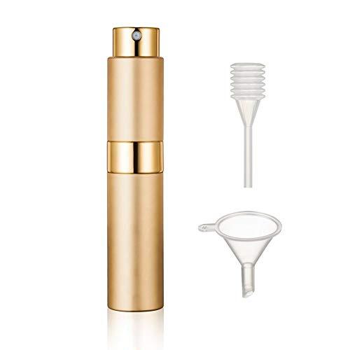 Rechargeables Vaporisateur Parfum, 10 ml Vide voyage Verre Atomiseur Flacon Parfum pour Homme & Femme avec Entonnoir et Pipette Or