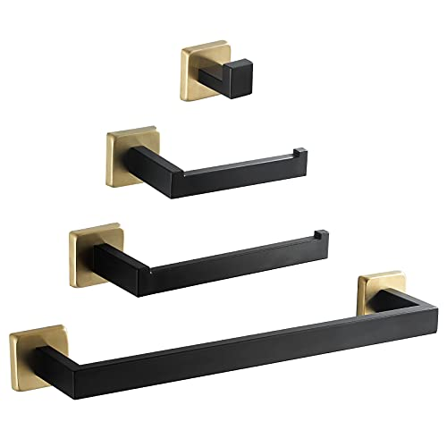 Wheanen 4-Pieces Bathroom Hardware Set Black + Gold SUS304 Stainless Steel Wall Mounted Towel Rack Pack - Includes 14
