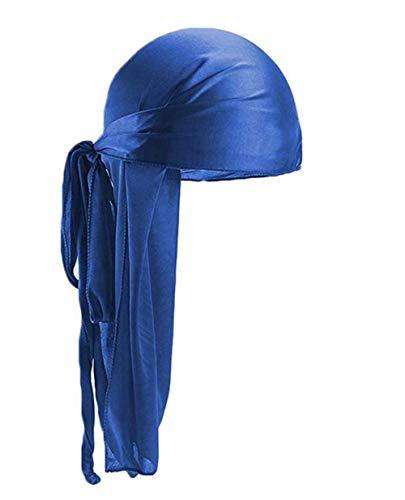 Herren Dehnbar Luxus Samt Langer Schwanz Drachen Durag Hip Hop Bandana Kopftuch Silky Soft Durag Cap Headwraps mit Langem (Blau)