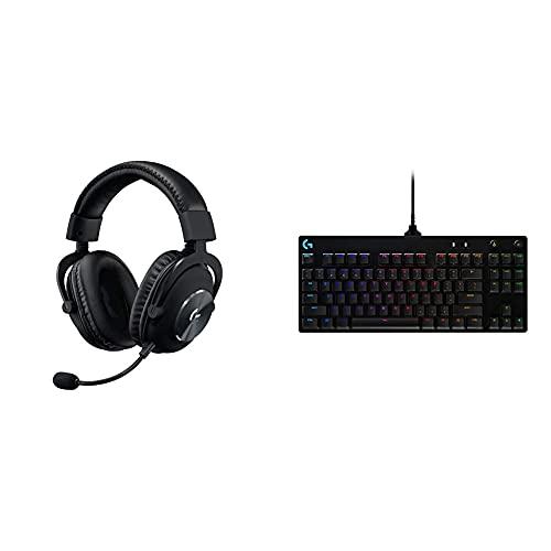 Logitech G Pro X Casque Gaming Over-Ear avec Micro Blue VO!CE + Logitech G Pro TKL Tenkeyless Clavier Gaming Mécanique