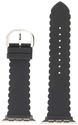 Kate Spade New York Women's Silicone Band Compatible with 42mm/44mm Apple Watch Color: Black Scallop (Model: KSS0032)
