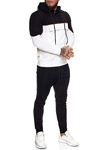 OneRedox | Herren Trainingsanzug | Jogginganzug | Sportanzug | Jogging Anzug | Hoodie-Sporthose | Jogging-Anzug | Trainings-Anzug | Jogging-Hose | Modell JG-13100 Schwarz-Weiss M