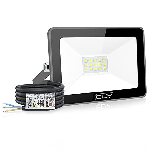 CLY 15W Faretto LED da esterno, impermeabile IP66 LED da esterno 6500K Proiettore da 1500 lumen, luce di sicurezza, faretto LED a luce bianca per giardino cortile garage quadrato