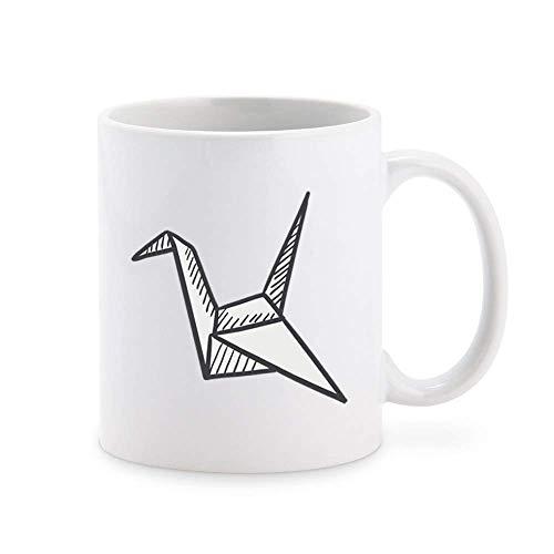 NA Simple Pen Sketch Origami Crane Taza de café de Dibujos Animados Taza de té Tazas de Regalo novedosas 11 oz