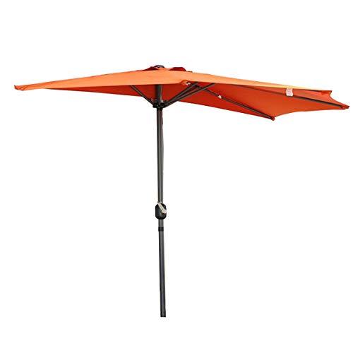 Angel Living 270cm Halbrund Sonnenschirm, Marktschirm,Terrassenschirm mit Kurbel für Garten,Terrassen,Höfe,Schwimmbäder,mit UV-Schutz 40+ Terrakotta