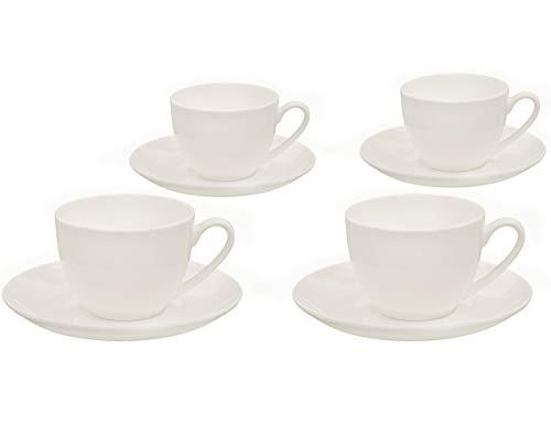 Buchensee Kaffeetassen Set aus Fine Bone China Porzellan. 4 Kaffeetassen je 210ml und 4 Unterteller in fein-cremigem Weiß.