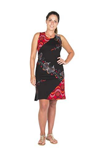 Aparte patchwork damesjurk uit bio katoen met originele schouderdetails, een prachtig rode psychedelische print en borduurwerk met vlindermotief