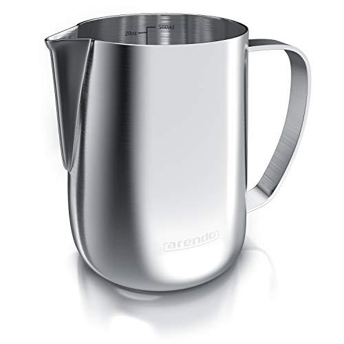 Arendo - Milchkännchen Edelstahl 600ml - Aufschäumer Kännchen – Milchkanne – Milk Pitcher - rostfreier Edelstahl – zum Milch Aufschäumen – spülmaschinenfest - Messskala - für Barista Cappuccino Latte