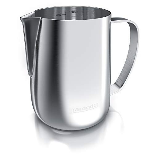 Arendo - Jarra para Leche de Acero Inoxidable 600 ml - Milk...