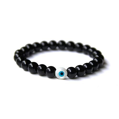 Zozu Natural Stone Dull Polish Black Onyx Beads Bracelet Men Evil Eye Elastic Bracelets for Women Men Fashion Jewelry 2019 Bileklik (Light Yellow Color)