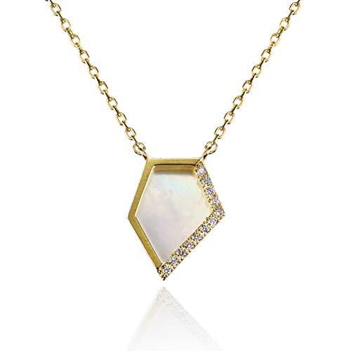 namana Perlmutt Anhänger mit Halskette für Damen. Zierliche Goldkette für Frauen mit Abalone oder weißem Perlmutt und Zirkonia. Goldkette für Frauen