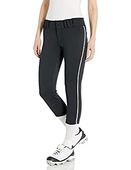 CHAMPRO Women s Tournament Low Rise Softball Pants with Side Black White Pipe Small