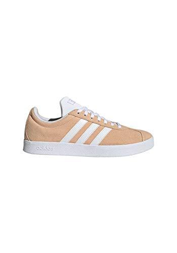 adidas Damen Vl Court 2.0 Turnschuh-Skateboard-Frau, Grau Glow Orange FTWR White Matte Silver, 38 2/3 EU