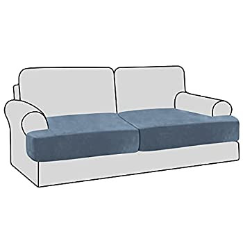 H.VERSAILTEX Stretch Velvet 2 Piece T Cushion Sofa Slipcovers Individually Sofa Cushion Covers for 2 Cushion Couch Seat Cushion Covers for Sofa Seat Cushion Covers Stay with Elastic Bands Stone Blue