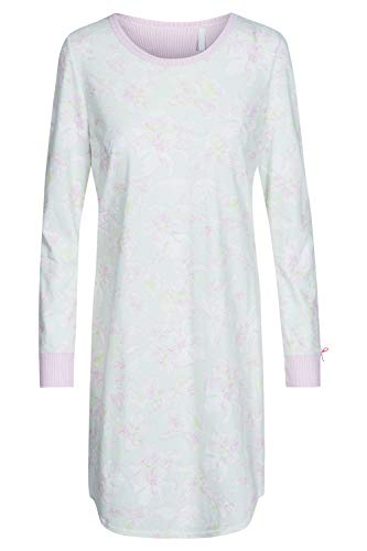 Rösch Damen Basic-Nachthemd Langarm Bigshirt in pastellfarbenem Steifen-Blumenprint und farblich abgesetzten Armbündchen aus der Serie SMART Casual, Gr. 36-50, Artikel 1884150 36 Mellow Green