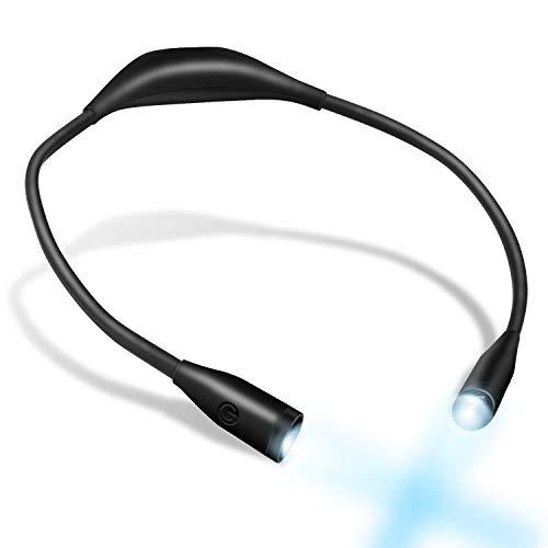 Libro, luz portátil recargable 4 LED luz de lectura con 2 brazos flexibles de silicona suave, cable USB incluido, para lectura/correr/caminar/deportes al aire libre