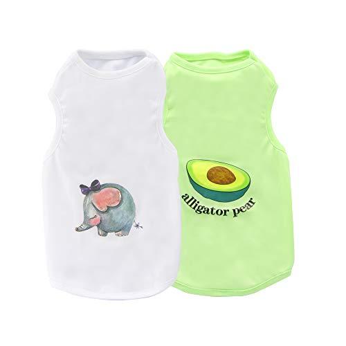 Hundehemden, YAODHAOD Sommer Haustier ärmelloses T-Shirt T-Shirt, weiches atmungsaktives bedrucktes Hunde-Sweatshirt für kleine bis mittlere Hundekleidung (2er Pack) (XL)