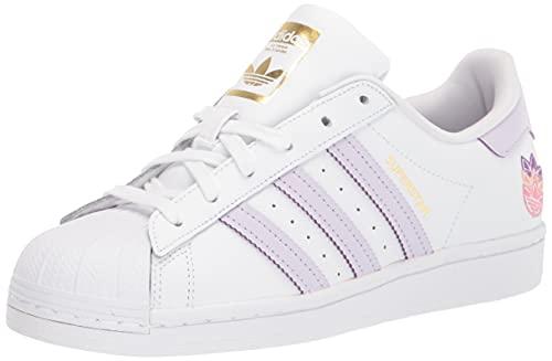 adidas Originals Women's Superstar Shoes Sneaker, White/Purple Tint/Matte Gold, 5