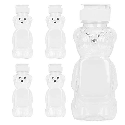 Aislor lastic Bear Bottle Honey Squeeze Bottle with Flip-top Lid 5Pcs White One Size