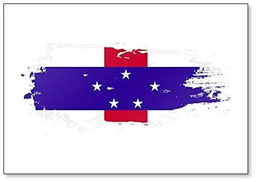 Nederlandse Antillen Vlag Grunge Brush Stroke Illustratie Koelkast Magneet