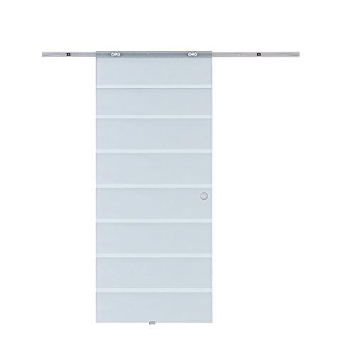 HOMCOM Porta Scorrevole Interna in Vetro Smerigliato e Satinato con Binario B3 in Alluminio per Bagno Cucina Studio Vetro 205x 90x 0,8cm