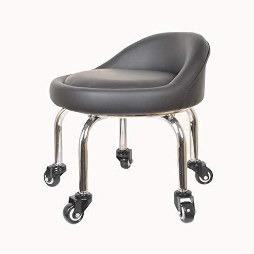 QFdd Petit Chaise en Cuir avec Roues Ergonomiques, Rembourrage épais Châssis en Acier Rotation à 360 ° pour Intérieur Extérieur Banc Bas Noir