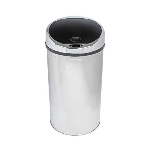 axentia Sensor-Mülleimer aus Stahl in Silber mit LED-Anzeige, Ø 32cm, Höhe 63cm